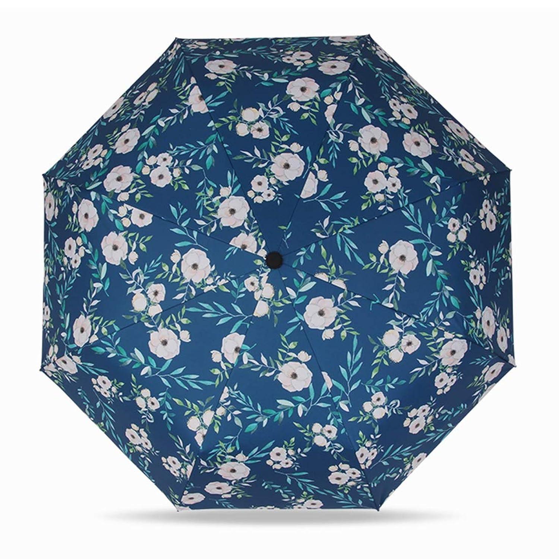 Linannau 日焼け止めのパラソルの花のデザイン女性の折りたたみサンの傘UVプロテクション防風の傘ブラックポータブル (色 : ブルー)