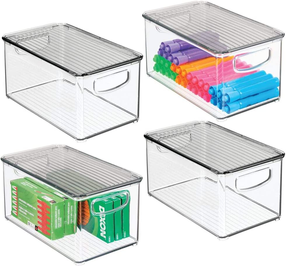 mDesign Plastic Stackable Office Storage Box Container with Handles, Lid for Home Office to Hold Gel Pens, Erasers, Tape, Pens, Pencils, Markers, Notepads, Highlighters - 4 Pack - Clear/Smoke Gray: Office Products