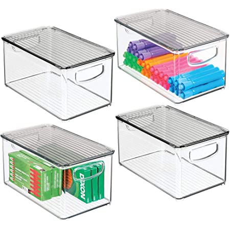 mDesign boite stockage à poignées intégrées en lot de 4 – boite rangement avec couvercle pour la cuisine, la salle de bain ou la papeterie – boite plastique pour le bureau – transparent et gris