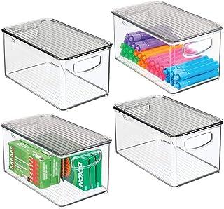 mDesign boite stockage à poignées intégrées en lot de 4 – boite rangement avec couvercle pour la cuisine, la salle de bain...