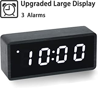 Upgraded Digital Alarm Clock, with Wooden Electronic LED Time, Large Display, 3 Alarm Settings, Wood Made Electric Clocks for Bedroom, Bedside, Office, Black