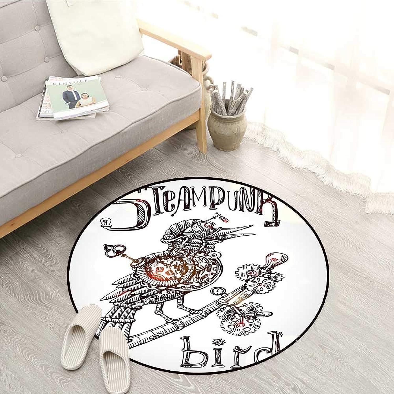 Surrealistic Kids Rugs Steampunk Bird Mechanical Animal Modern Times Fiction Print Sofa Coffee Table Mat 4'11  Coconut Seal Brown Yellow