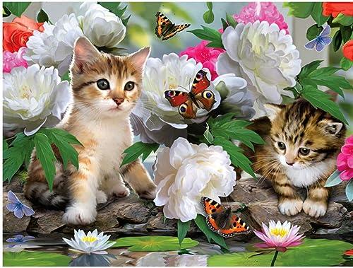 orden en línea XIGZI 5d Pintura Diamante Bricolaje Punto de Cruz Gato Gato Gato Mariposa Flor Rhinestone Bordado Mosaico decoración sin Marco  tienda de ventas outlet