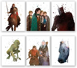 Lord of The Rings Wall Art Posters - Set of 6 LOTR Home Decor Prints - Aragorn - Legolas - Gandalf - Gimli - Frodo Baggins - Gollum - Sauron (8x10)