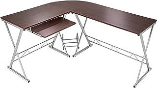 TecTake Bureau Table à ordinateur en coin meuble d'angle PC poste de travail 170 x 135 x 75 cm - diverses couleurs au choi...