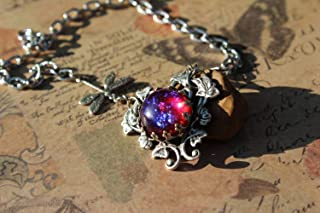 Dragonfly Necklace, Dragonfly in the Morning Glories, Dragon Breath Necklace, Opal Necklace, Fire Opal Necklace, Fall gift, Christmas Gifts