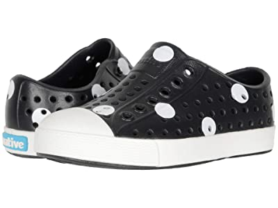 Native Kids Shoes Jefferson Print (Toddler/Little Kid) (Jiffy Black/Shell White/White Polka Dots) Girls Shoes