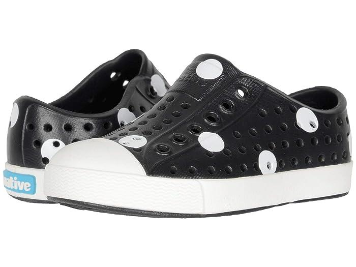 Native Kids Shoes  Jefferson Print (Toddler/Little Kid) (Jiffy Black/Shell White/White Polka Dots) Girls Shoes