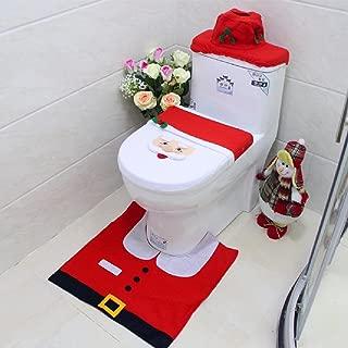 1 Set (4 Pcs/Set) Christmas Santa Claus Carpet Bath Mats Toddler Nonslip Textured Round Rubber Suction Stick Cups Absorbent Distinguished Popular Vintage Hotel Washable Bathmats Shower Toilet