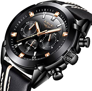 Mens Watches,LIGE Waterproof Chronograph Sport Analog Quartz Watch Gents Big Face Leather Wrist Watch