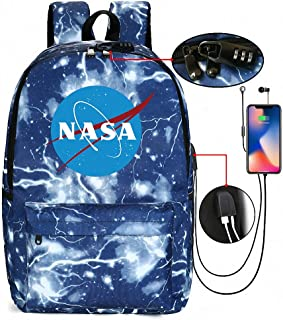 Mochila de la NASA Unisex Mochila PortáTil para NiñOs Escolar Impermeable Multifuncional con Puerto de Carga USB y Cerradura Acomoda una computadora portátil de 14 Pulgadas