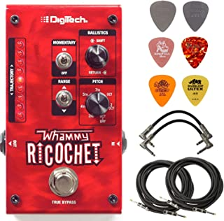 Digitech WHAMMY RICOCHET Guitar Pitch Effect Pedal Bundle with 4 Cables and 6 Assorted Dunlop Picks
