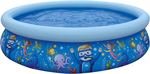"""lowest JLeisure 17788 Sun Club popular 6.75' x 18.5"""" 2 to 3 Person Capacity Sea World online sale 3D Kids Above Ground Inflatable Outdoor Backyard Kiddie Swimming Pool, Blue online"""