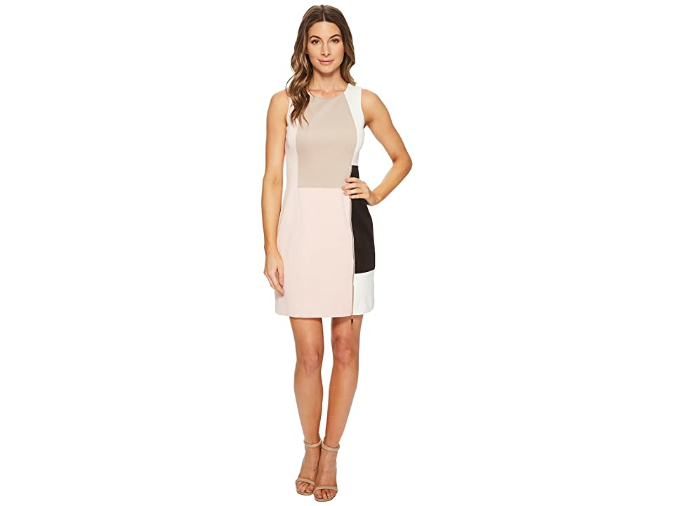 Ivanka Trump Scuba Crepe Sleeveless Patchwork Dress (Blush Multi) Women