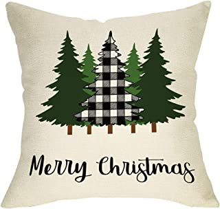 Softxpp Merry Christmas Throw Pillow Cover, Decorative Xmas Tree Sign Cushion Case Buffalo Plaid, Farmhouse Home Winter Holiday Square Pillowcase Decor for Sofa Couch 18'' x 18'' Inch Cotton Linen