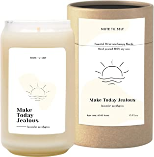 Note to Self: Make Today Jealous - Lavender Eucalyptus Candle   Scented Aromatherapy Candles   Soy Candles with Fall Scents You'll Crave   Big Eco-Friendly Long Lasting Candles   Large White