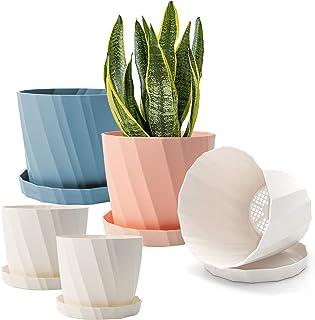 Mesti Plastic Planter, 6.6inch 3Pcs,5.5inch 2Pcs Plastic Plant Pots with Drainage and Saucer,Succulent Planter Pots Planti...