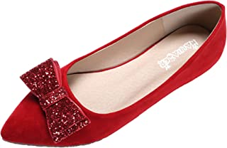 Women's Flats Pearls Bows Across Tops Dress Wedding Shoes Comfortable Classic Slip On Ballet Flats for Women