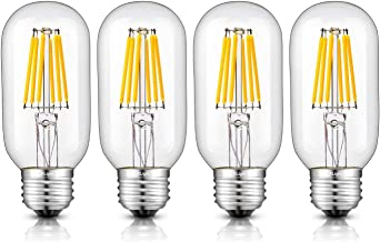 CRLight LED Tubular Bulb 6W 2700K Warm White 600LM Dimmable, 60W Equivalent E26 Medium Base, T45 Antique Tubular LED Filament Bulbs, Pack of 4