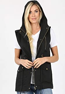ClothingAve. Womens Essential Military Hoodie Vest with Zippered Pockets and Snap Button Closure