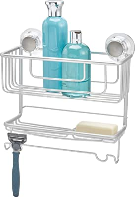 InterDesign シャワーラック 風呂 バスルーム 防錆加工 アルミ製 吸盤 Metro 二段式 シルバー 20970EJ