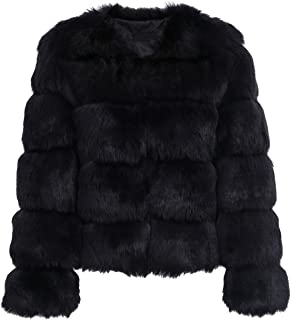 4b0e9bc685458 Simplee Women Luxury Winter Warm Fluffy Faux Fur Short Coat Jacket Parka  Outwear