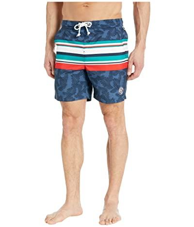 Original Penguin Engineered Stripe Swim Shorts (Dark Sapphire) Men