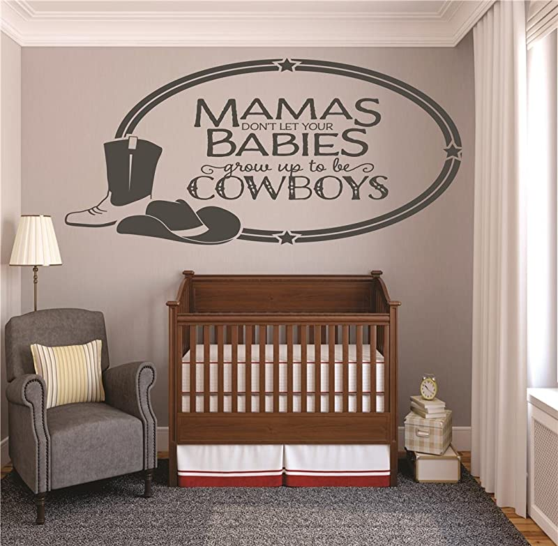 Vinyl Wall Decal Sticker Mamas Dont Let Your Babies Grow Up To Be Cowboys Western Hat Boots Baby Newborn Son Boy Infant Nursery Bedroom Picture Art Size 20 X 40 Inches 22 Colors Available