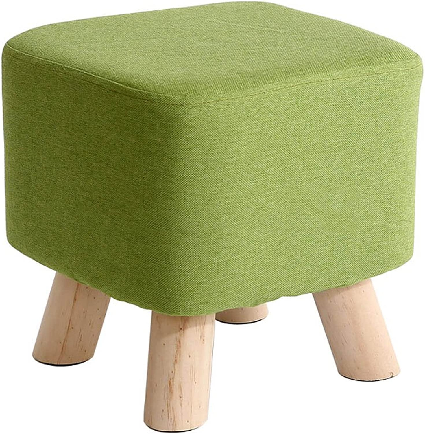 YANGXIAOYU Stool Leisure Chair Home Solid Wood Feet Fabric Sofa Stool Bench shoes (color   A)
