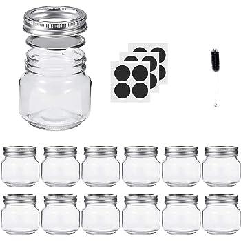 Glotoch Mason Jars 8OZ With Regular Lids and Bands, Ideal for Jam, Honey, Wedding Favors, Shower Favors, Baby Foods, DIY Magnetic Spice Jars, 12 PACK, Included 12 Chalkboard Labels and1 brush