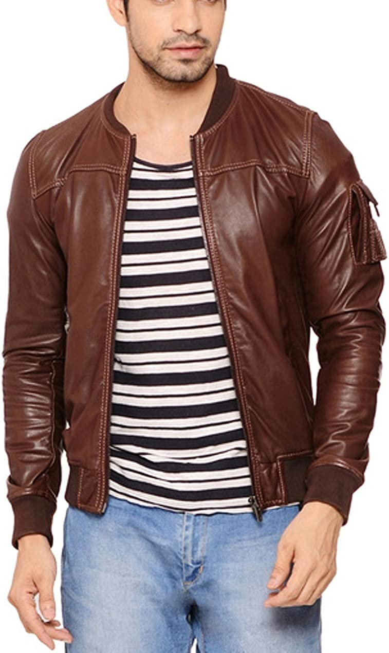 World of Leather Slim Fit Style Genuine Lambskin Leather Jacket Bomber Brown