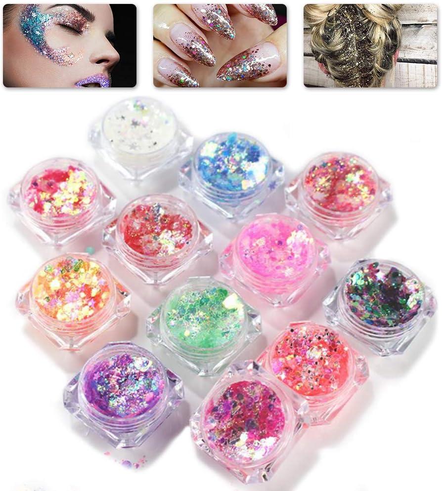 Purpurinas Polvo, Chunky Glitter, Brillo Corporal, Purpurina para Cara Cuerpo,Brillo de uñas,Brillo de Cosméticos de Maquillaje para Festival Música, 12 Colores