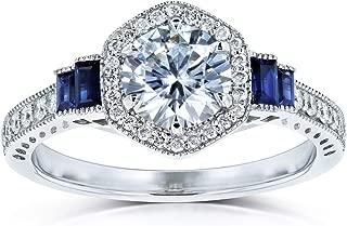 Kobelli Moissanite Sapphire and Diamond 6-prong Halo Art Deco Ring 1 1/2 CTW 14k White Gold (DEF/VS, Blue, GH/I)