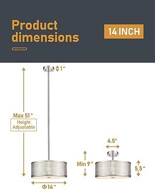 Semi Flush Mount Ceiling Light, AKEZON 14 inch Close to Ceiling Light Fixture, Dimmable 24W LED 2000lm 3000K Warm White, Adju