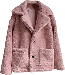 Hathaway-store Female Casual Plus Size Long Sleeve Wool Coat Jacket Thick Warm Fur Button Lapel Coat