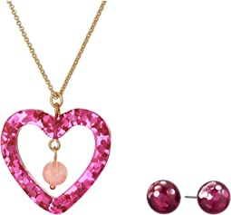 Heart Pendant Necklace & Stud Earrings Set