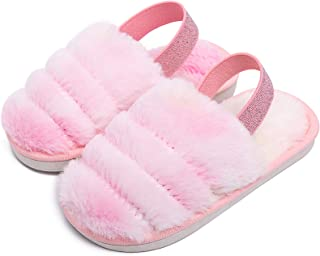 Kids Fluffy Fuzzy Slippers Open Toe House Home Slippers for Boys and Girls Faux Fur Slides with Strap Little Kids Slip-on ...