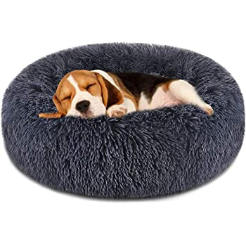 FOCUSPET Dog Bed Cat Bed Donut,Pet Bed Faux Fur Cuddler Round Comfortable for Small Medium Large Dogs Ultra Soft Calming Bed,Self Warming Indoor Sleeping Bed Multiple Sizes (20''/24''/32''/40''/46'')
