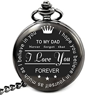 Unique Gifts for Dad Birthday Gifts Personalized Pocket Watch with Chain