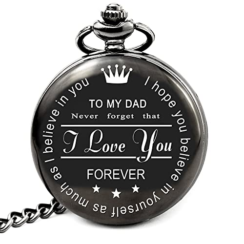 LEVONTA Dad Gifts For Birthday Personalized Pocket Watch With Chain To