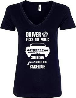 Winchester Brothers Driver Picks The Music Shotgun Shuts His Cakehole Women V-Neck T-Shirt - Black New