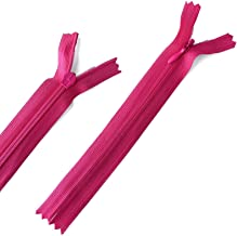 Yzsfirm 10 Pcs 12 Inch Real Silk Invisible Sewing Zipper Bulk,Rose Red Coil Closed Zippers for Tailor Sewing Crafts