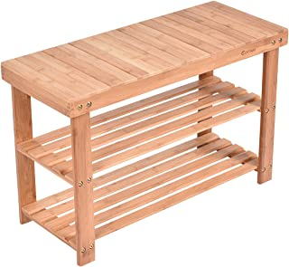 COSTWAY Natural Bamboo Shoe Rack Bench Eco-Friendly Bamboo 3-Tier Free Standing Shoe Storage Organizer Shelf Wood Seat Holder Home Entryway Hallway Furniture