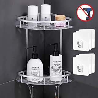 Flowmist 2 Tiers Corner Shower Caddy,Shower Organizer,Wall Mounted Shower Shelf with Adhesive(No Drilling), Storage Rack for Toilet,Shampoo,Dorm and Kitchen