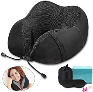 ZIQIAN Travel Pillow 100% Pure Memory Foam Neck Pillow, Airplane Travel Set with Luxury Eye Sleep Mask, Earplugs, and Luxury Bag,Comfortable & Breathable Cover - Washable (Black)