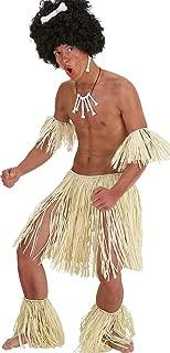 Adult Hawaiian Fancy Dress Costume Grass Skirt Armbands & Legbands Zulu Set