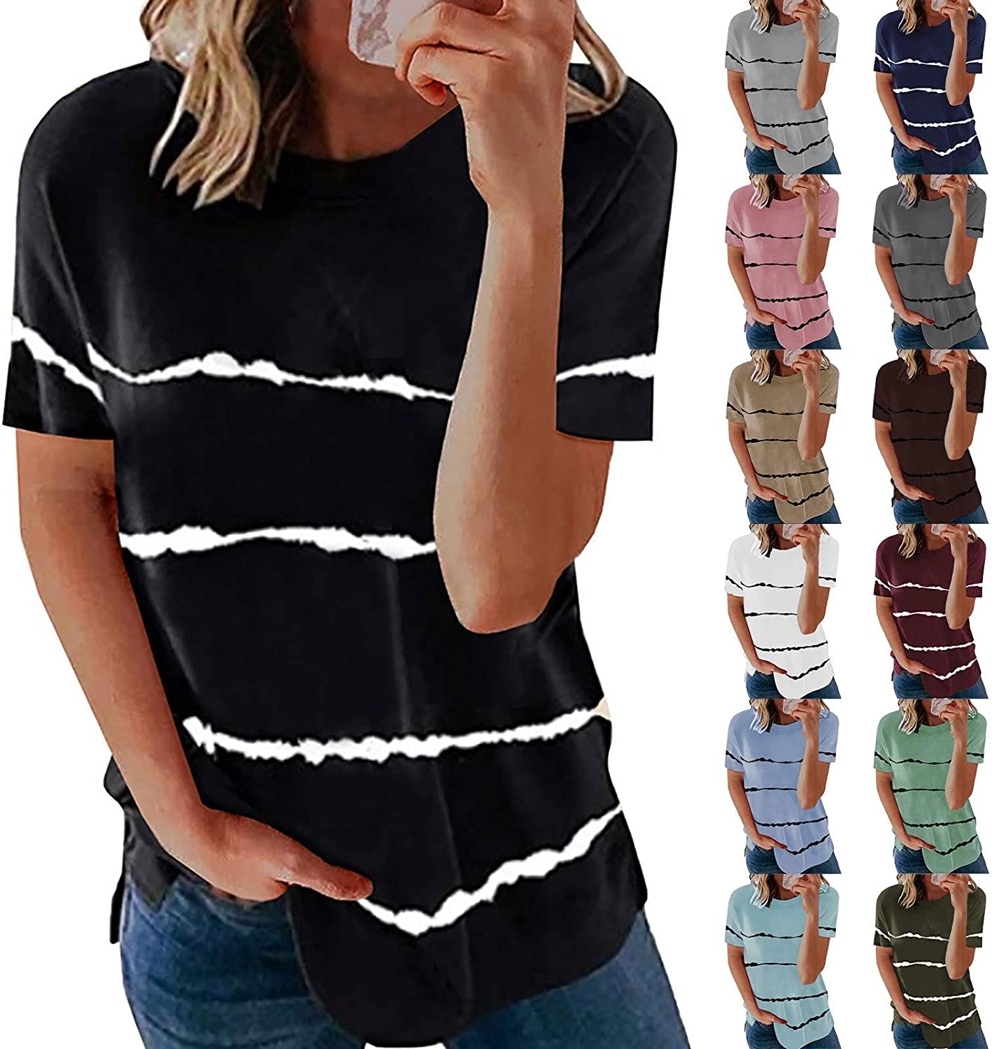 Aukbays T-Shirts for Womens Short Sleeve Stripe Printed Tops Round Neck Loose Fit Plus Size Pullover Blouses Tees Shirts