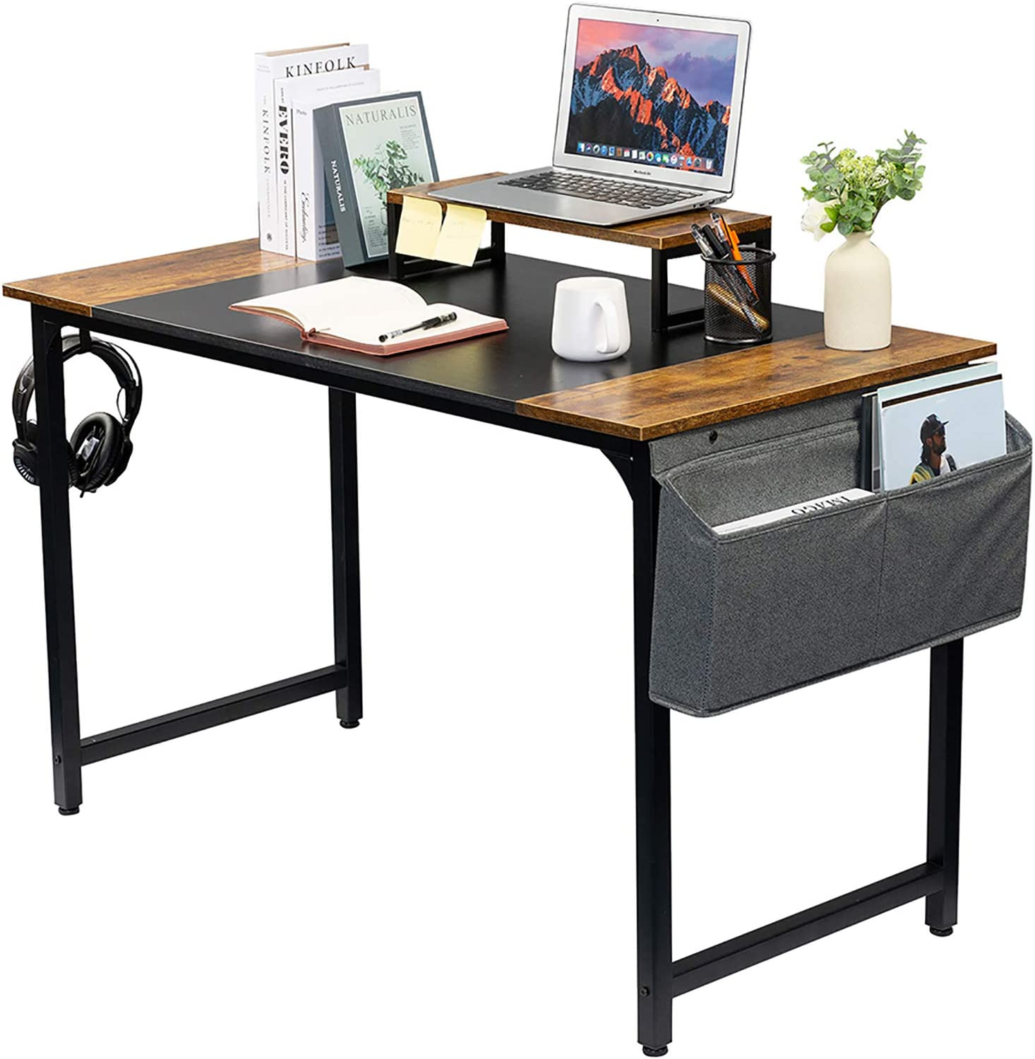 GAJOO Computer Desk Work Home Office Desk Writing Study Desk 47inch,Modern Simple Student School Study Desk with Monitor Stand Storage Bag and Plug-in Row Storage for Home Office Rustic and Black
