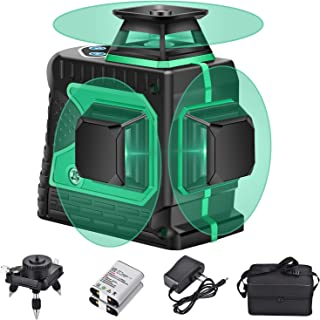 3X360 Self Leveling Laser Level, 3D 12 Lines Green Beam 131Ft Vertical Horizontal Line with 1 Tripod Base,2PCS 4000mAh Rechargeable Battery, Wider Range of Illumination,High Precision,LACL-12L