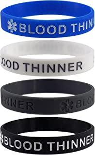 Blood THINNER Medical Alert ID Silicone Bracelet Wristbands 4 Pack
